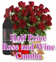 Valentines Rose and Wine Combos