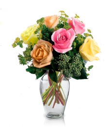 6 Long Stemmed Assorted Roses