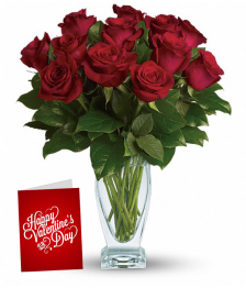 Dozen Red Roses, Card & Vase