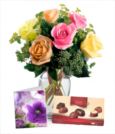 6 Assorted Roses, Chocolates & Card