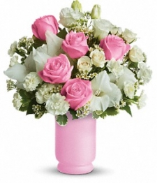 24 Long Stemmed Pink and White Roses