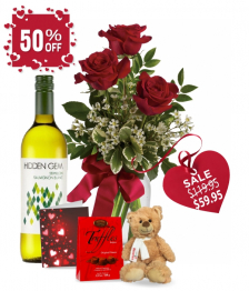 3 Red Roses and White Wine Combo