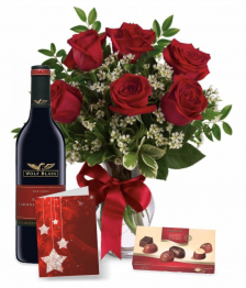 6 Red Roses, Chocolates, Card & Wine