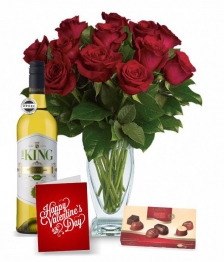 12 Red Roses, Chocolates, Card & Wine