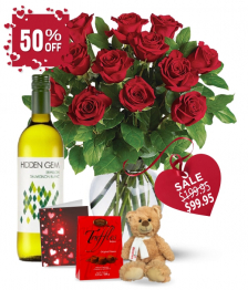 Dozen Red Roses and White Wine Combo