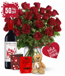 24 Red Roses and Red Wine Combo