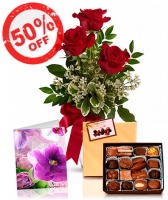3 Red Roses, Card & Chocolates