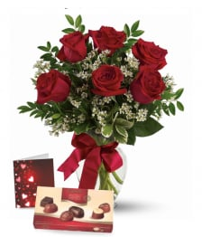 Half Dozen Red Roses, Card & Chocolates
