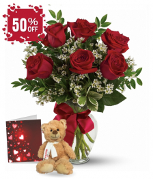 Half Dozen Red Roses, Card & Teddy