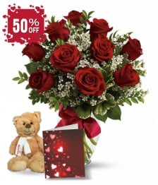 Ten Red Roses, Card & Teddy