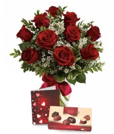 Ten Red Roses, Card & Chocolates
