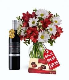 Christmas Bells Bouquet, Chocolates & Wine