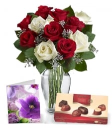 12 Christmas Roses, Card & Chocolates