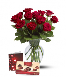 Dozen Roses, Chocolates, Vase & Card