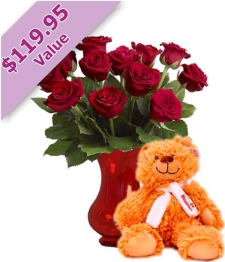 Dozen Red Roses, Vase & Teddy