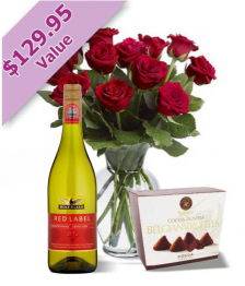 Dozen Red Roses, Wine & Truffles