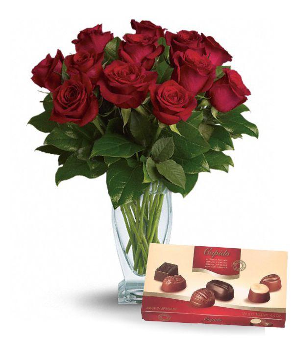 Dozen Red Roses, Vase & Chocolates