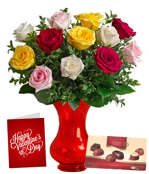 Dozen Mixed Colour Roses, Vase, Card & Chocolates