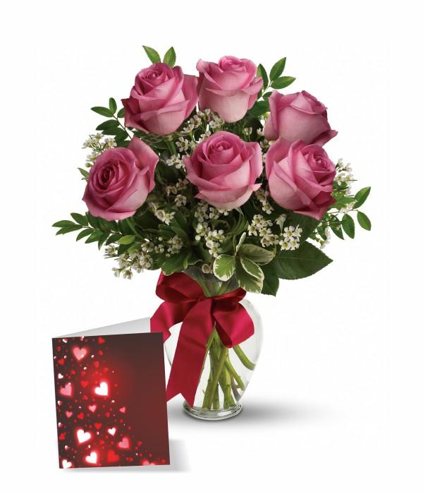 Half Dozen Long Stemmed Pink Roses