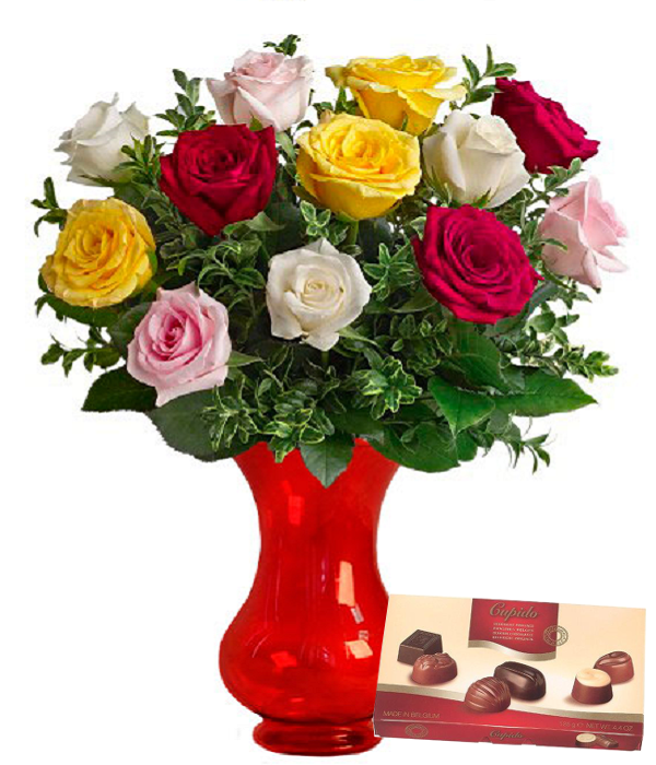 12 Mixed Roses with Chocolates