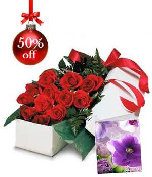Dozen Boxed Red Roses & FREE Card