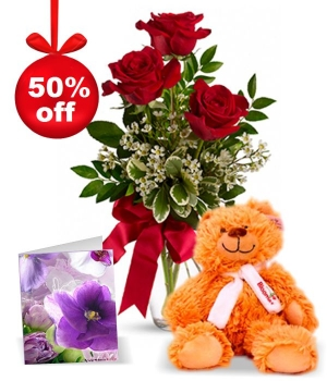 3 Red Roses, Card & Teddy