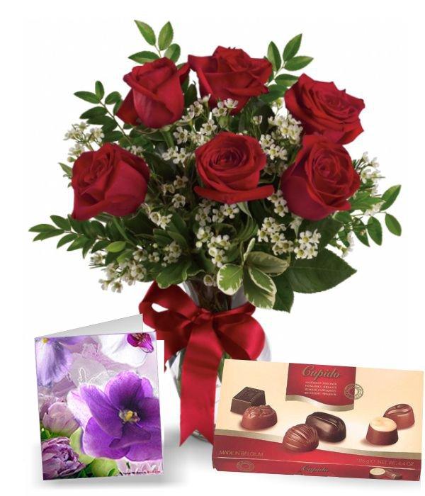 Half Dozen Red Roses, Card & Chocolates