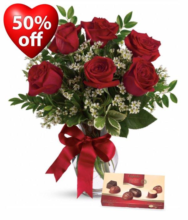 6 Red Roses, Vase & Chocolates