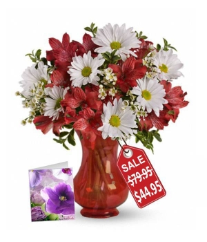 Christmas Bells Bouquet, Vase & Card