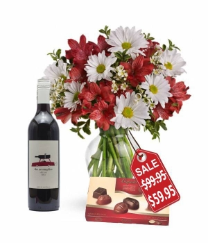 Christmas Bells Bouquet, Chocolates & Wine