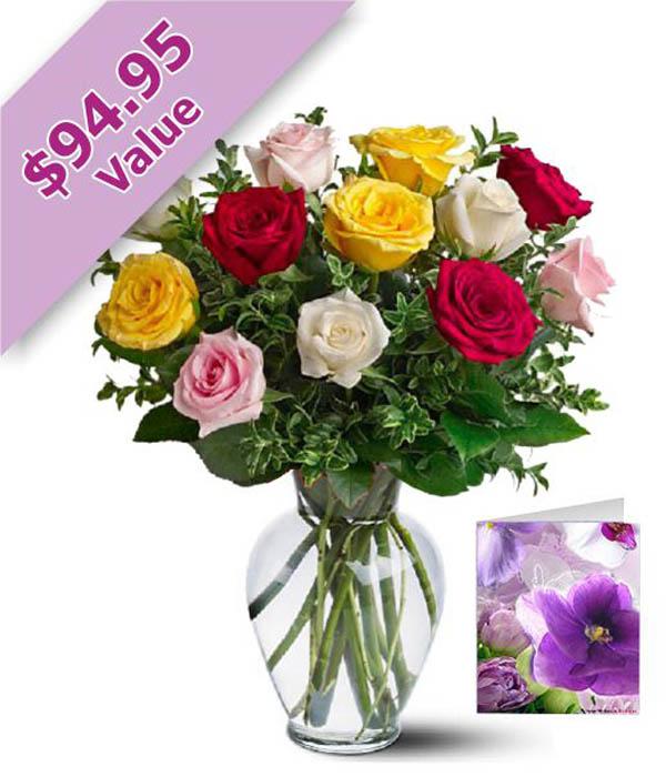 Dozen Mixed Roses, Vase & Card
