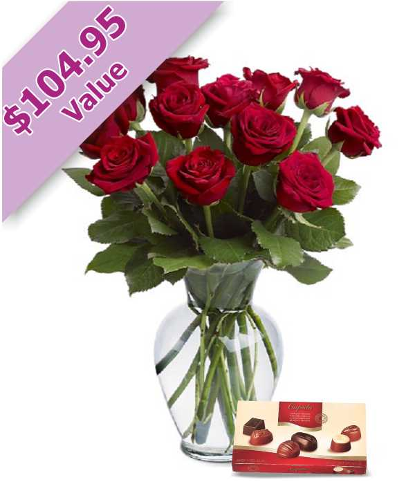 Dozen Red Roses & Chocolates